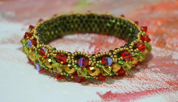 Berry Valley Handwoven Bangle Bracelet by UNAMORENAstudio on Etsy