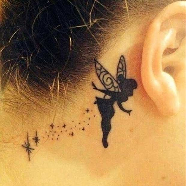 Behind the Ear Tinkerbell Tattoo