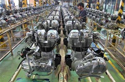 Engine inside the Royal Enfield motorcycle factory in Chennai.