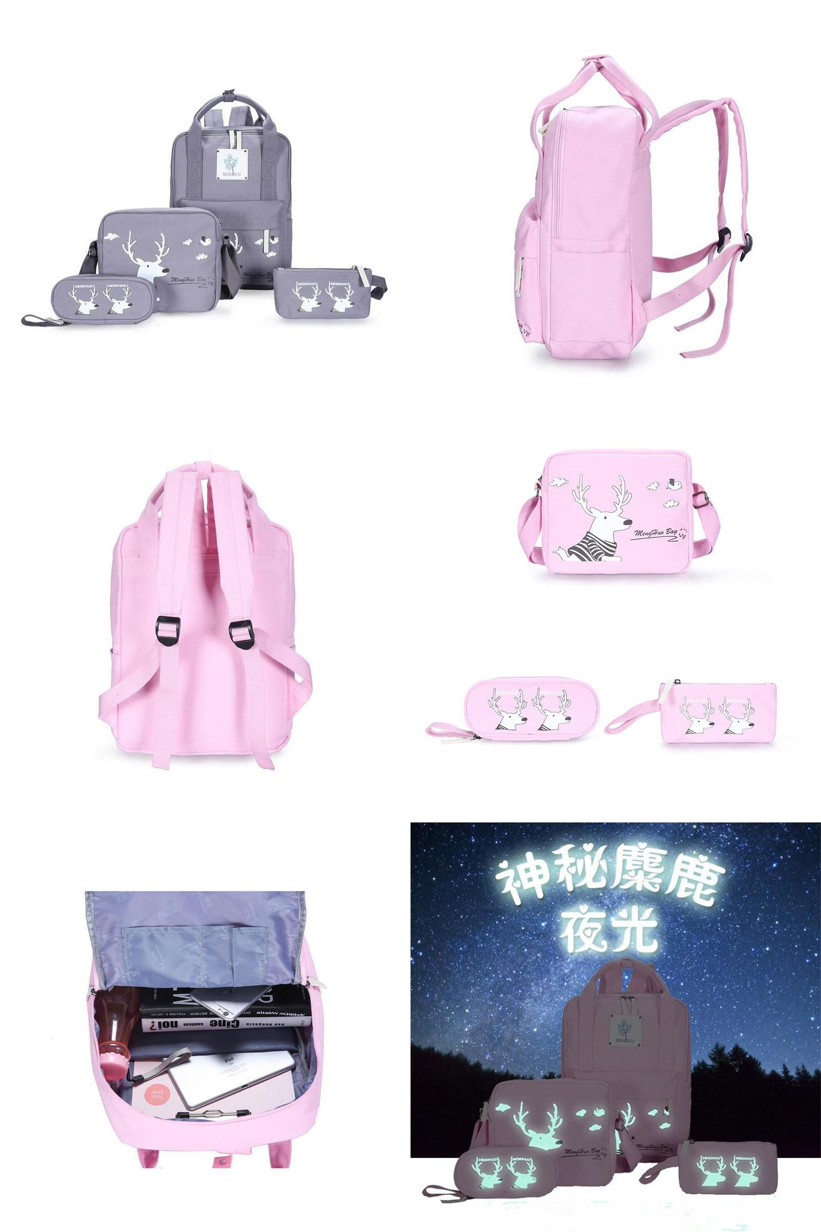 visit to preppy style 4 sets girl luminous backpacks canvas