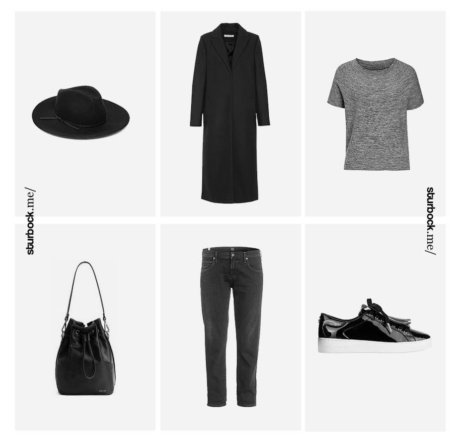 Der Montag in anthrazit schwarz: Langer Mantel, meliertes T-Shirt, 7/8 Denim und glänzende Sneaker. Hier entdecken und shoppen: http://sturbock.me/XdR