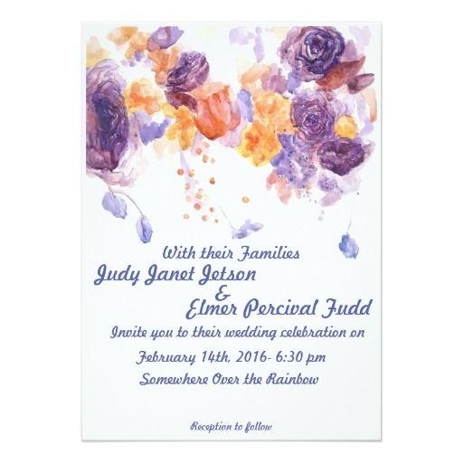Purple And Orange Wedding Invite Zazzle Com Purple Wedding