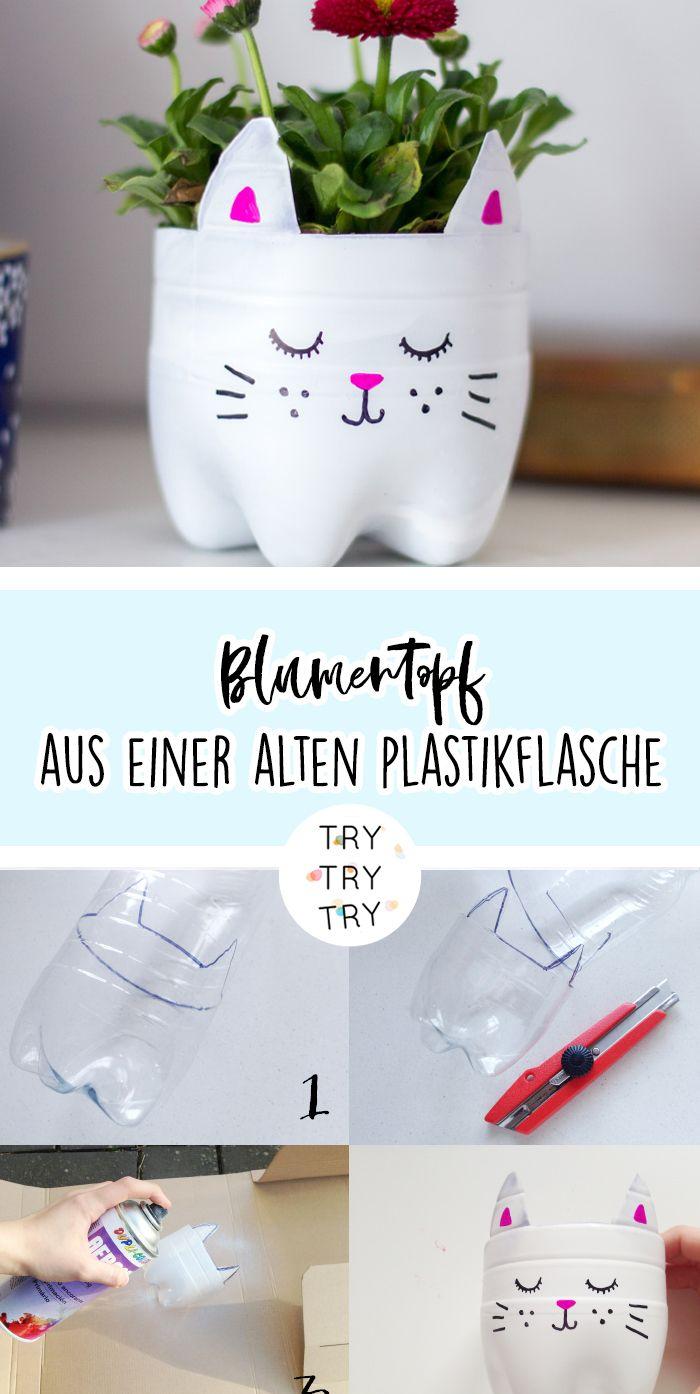 Katzen-Blumentopf aus einer alten Plastikflasche / Upcycling DIY