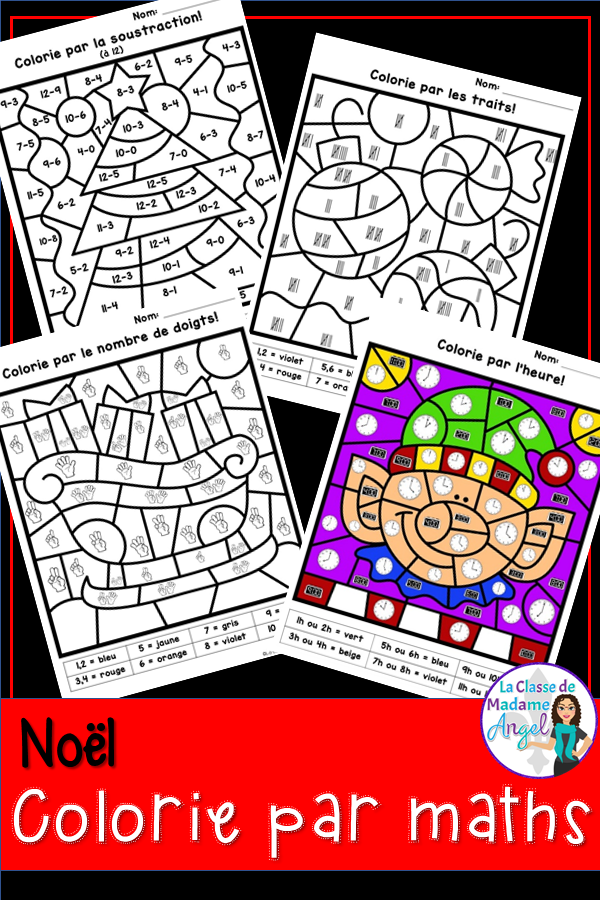 Colorie Par Maths Is A Fun And Engaging Twist On An Old Colour By Number Favourite Great For Celebrating Noe Christmas Addition Christmas Math Math Coloring