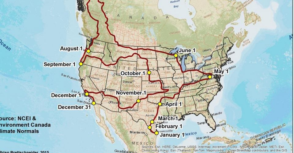 a year long us road trip for people who want 70 degree weather every