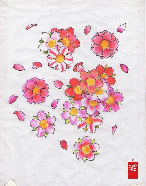 cherry blossoms, sakura tattoo flash