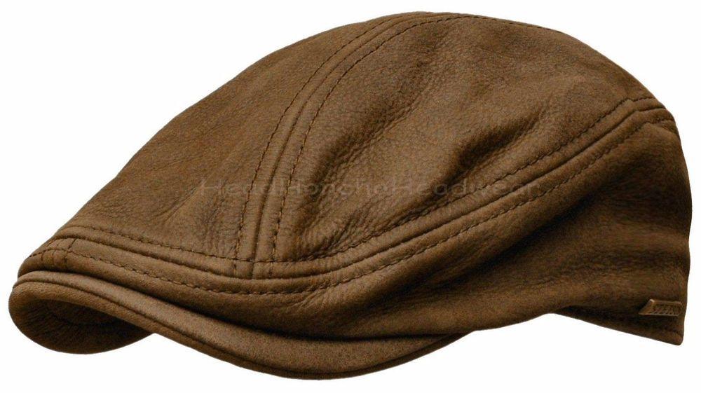 6e306eb7f STETSON Leather IVY Cap Mens Gatsby Newsboy Hat Golf Brown Driving ...