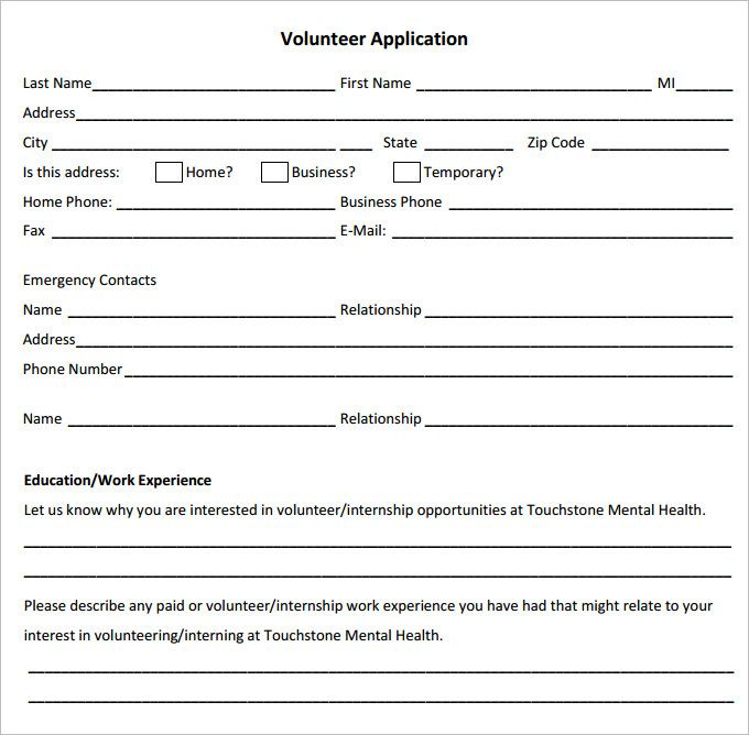 Volunteer Forms Template Check More At Https Nationalgriefawarenessday Com 46428 Volunteer Forms Template Volunteer Application Application Form Templates