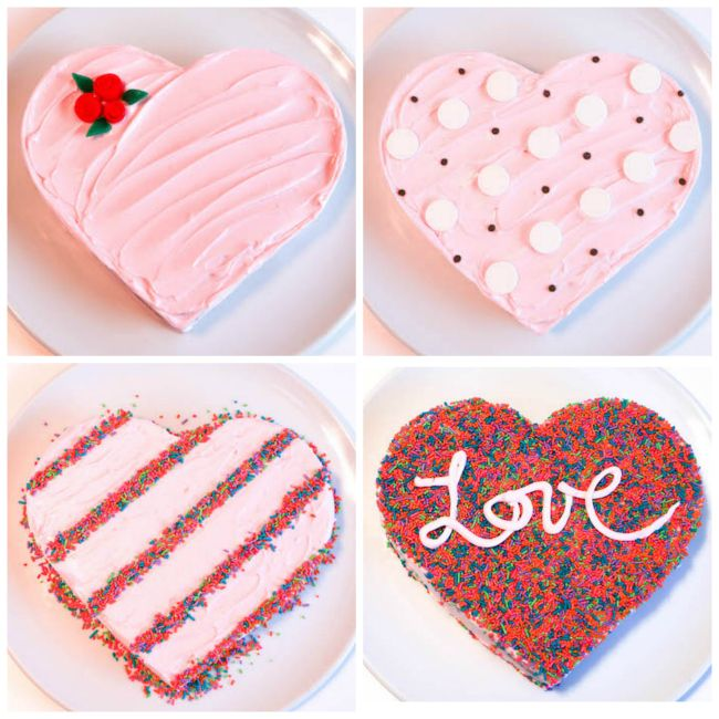 The Easiest Heart Cake Ever 4 Ways Cake Decorating Ideas