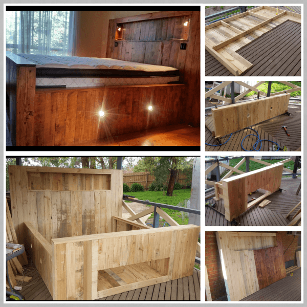 King Size Pallet Bed With Storage Amp Lights Diy Storage