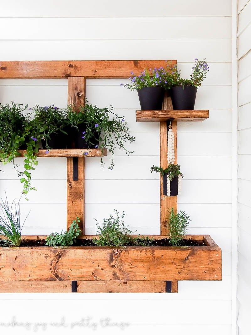 Diy vertical herb garden and planter 2x4 challenge for Vertical garden planters diy