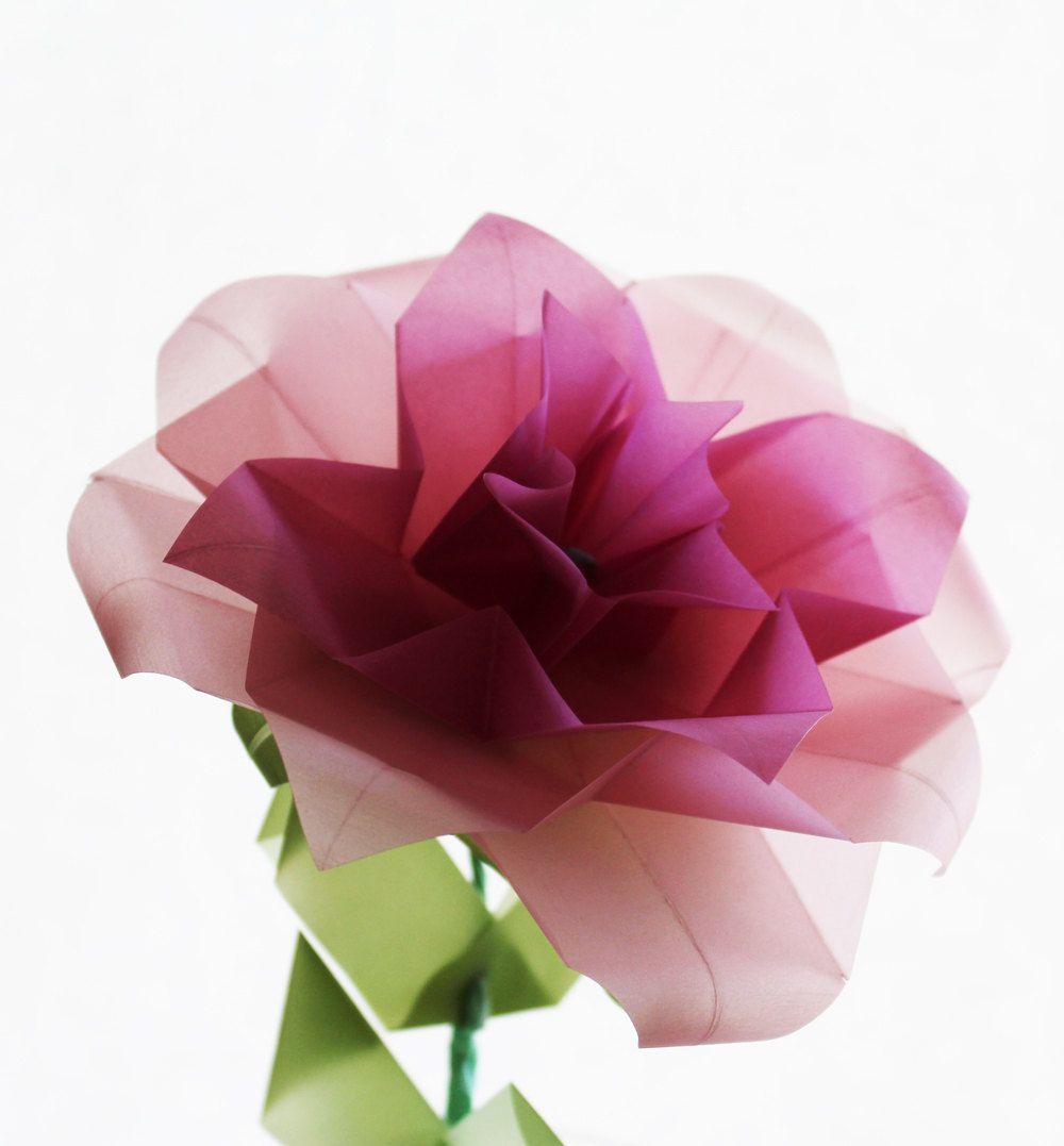 Origami Rose Translucent Vellum Origami Nikkicrossapplesauce