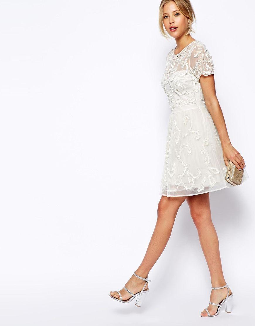 White embellished skater dress
