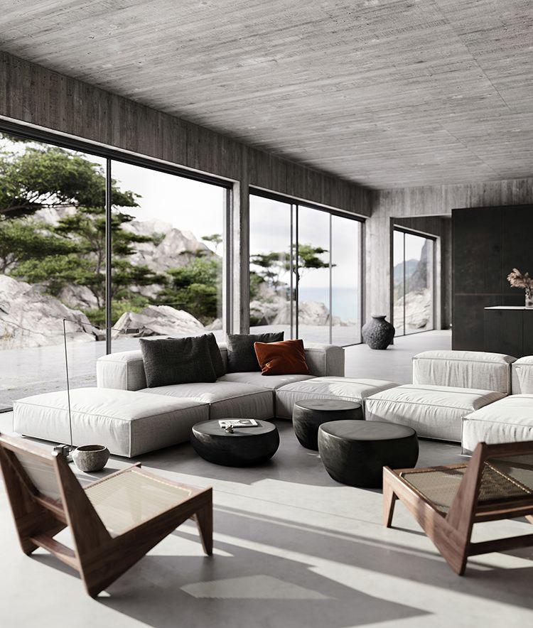 Contemporary Home With Bare Concrete Walls And A Black Kitchen Interior Design Concrete Interiors Contemporary Interior Design