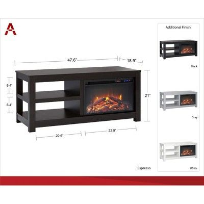 55 George Electric Fireplace Tv Stand Gray Room Joy