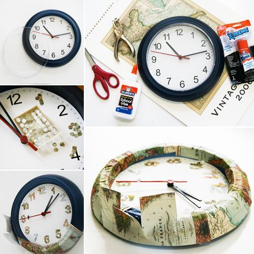 Good ideas for you recycled maps crafting ideas to create clock with map world clock map clock gumiabroncs Gallery