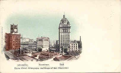 """"""" Newspaper Row, San Francisco """" Vintage 1898 Private Mailing Card. With an UDB-UNU, and in Excellent condition. Karodens Vintage Post Cards."""