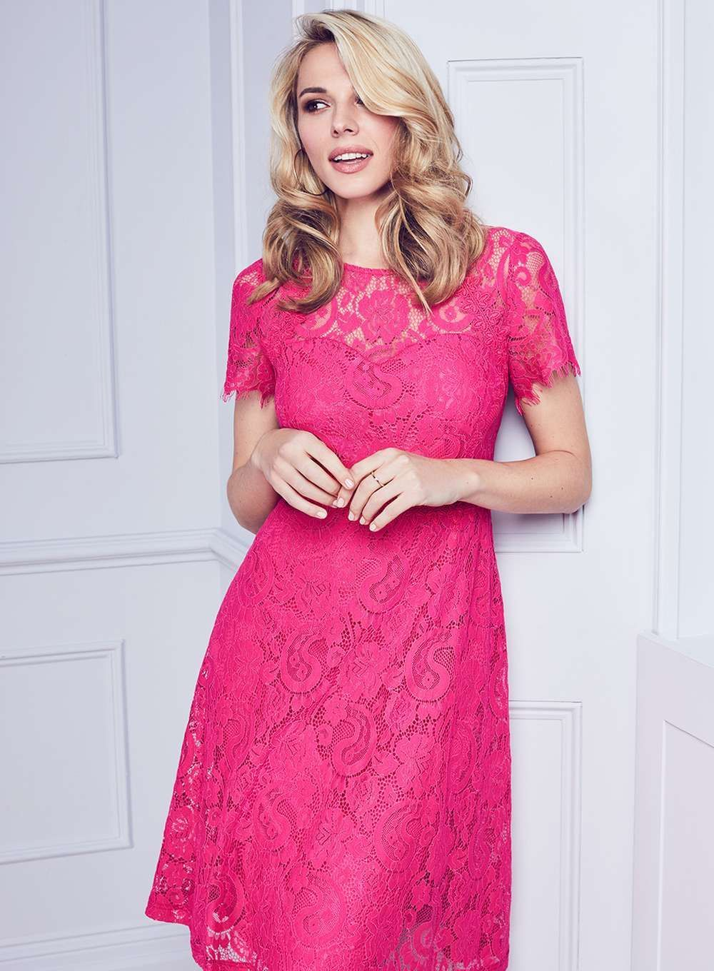 Womens pink scallop lace midi dress pink different styles of