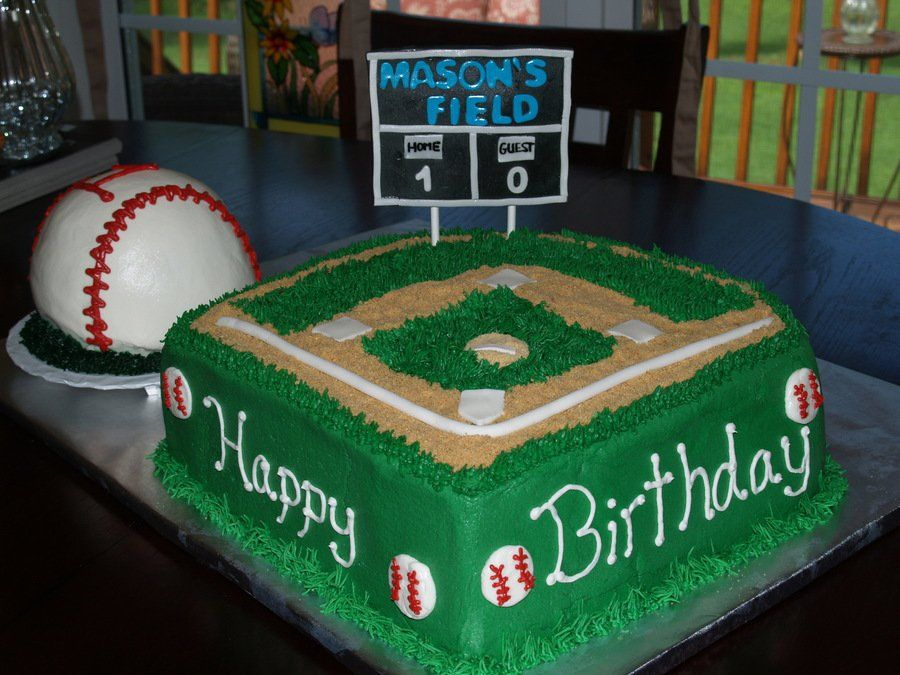 Baseball Field Birthday Cake With Images Baseball Birthday