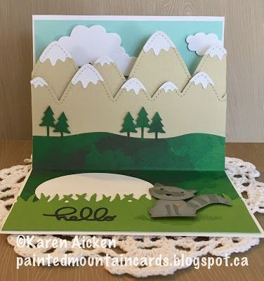 Painted Mountain Cards C4c 375 Hello Hello Pop Up Card Diy Pop Up Book Pop Up Cards Pop Up Art