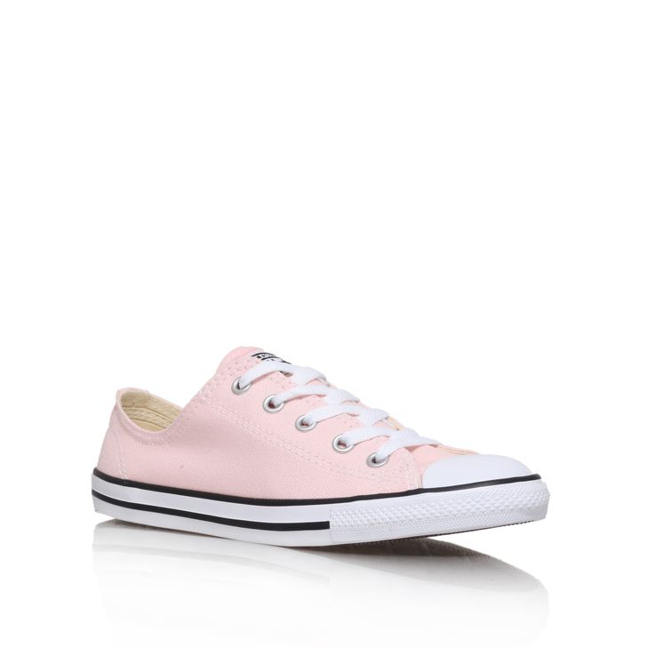 Ct Dainty Low Pink Flat Lace Up Trainers By Converse Kurt Geiger