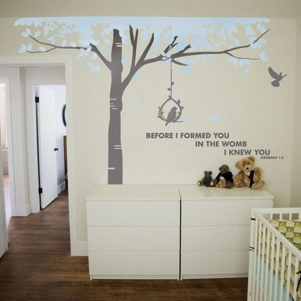 Childrens Bedroom Wall Designs Interesting Birch Tree With Love Quotes Vinyl Wall Stickers Decals In Baby Design Decoration
