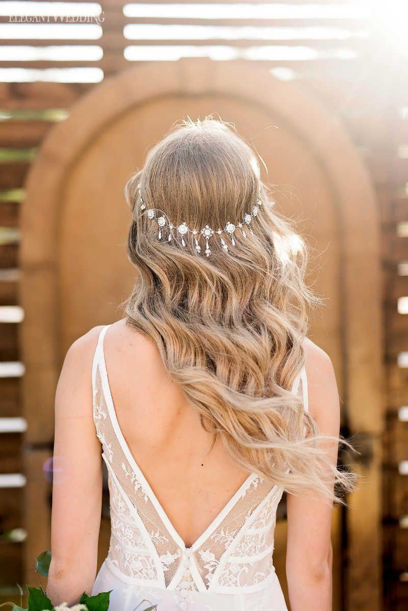 Bolux Tuscan Wedding Inspiration Long Bridal Hair Boho Bridal
