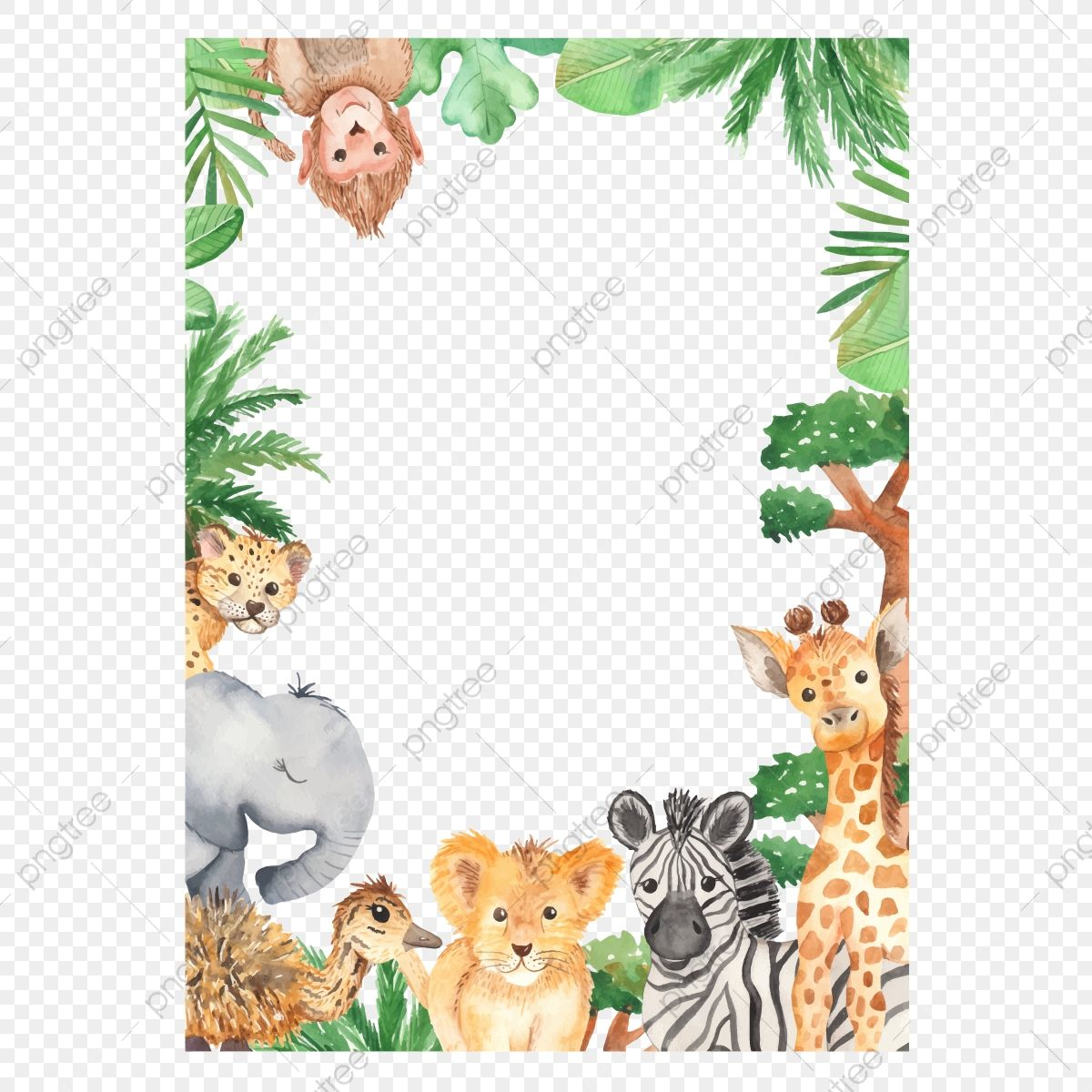 Download This Watercolor Frame With African Animals And Palm Africa Animal Baby Transparent Png Or Vector File For Fr African Animals Zoo Clipart Watercolor