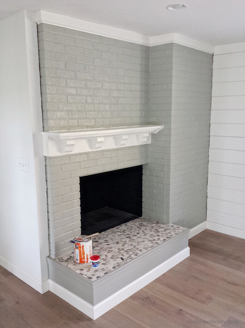 Brick Fireplace Makeover You Won T Believe The After The Harper House Brick Fireplace Makeover Brick Fireplace White Brick Fireplace