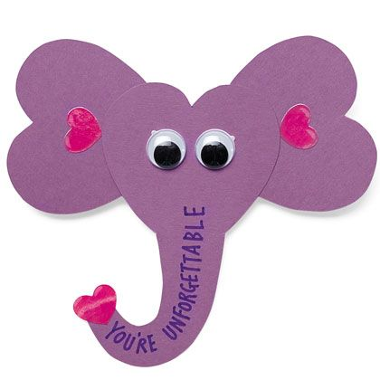 15 Kids Valentines Crafts – Elephant Valentines Card