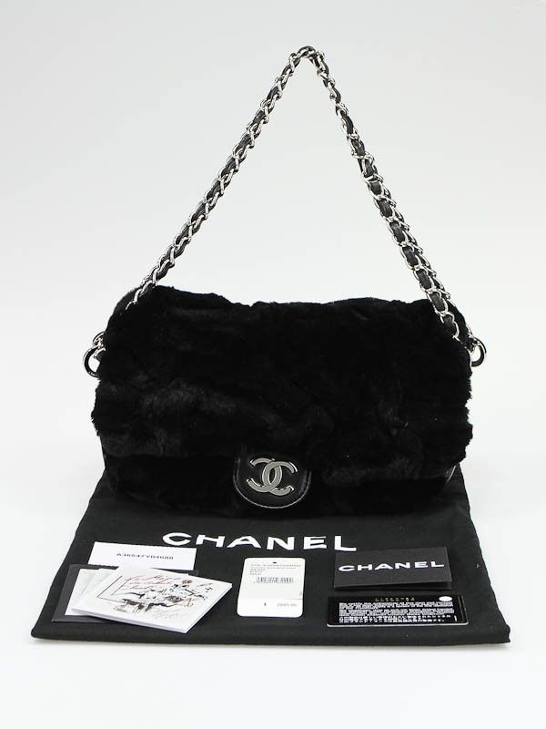 a782b8db85a8 Fur and Leather Handbags   Chanel Black Rabbit Fur and Leather Flap Bag