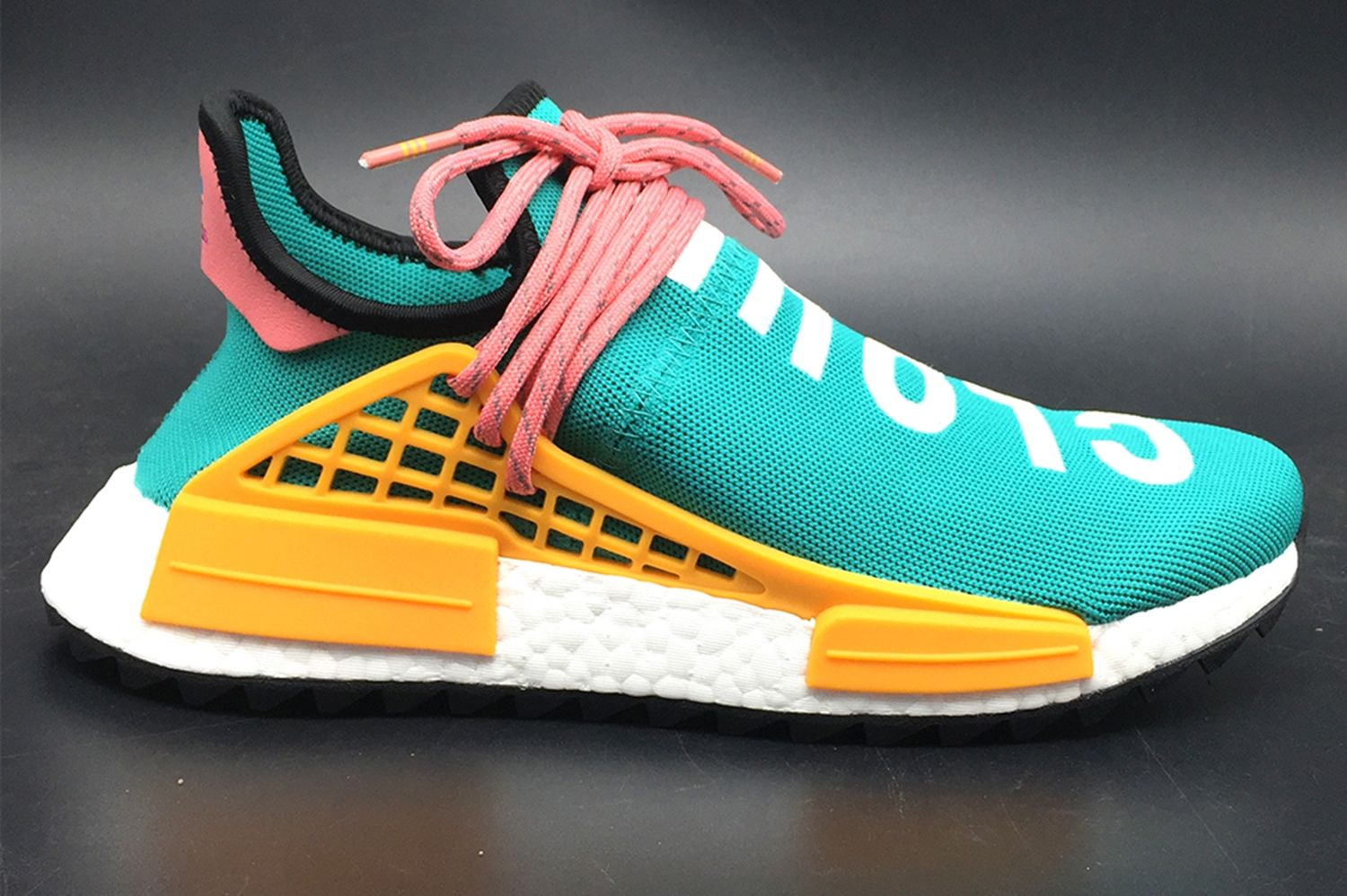 2b5d254e7 Pharrell Williams and Adidas Originals teamed up to build Human Race NMD Hu  with personality publicity of the upper text and originated from the NMD  fashion ...
