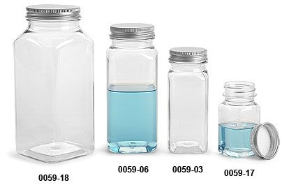 SKS Bottle & Packaging, Glass Bottles, Clear Glass Bottles, Plastic Bottles, Clear PET Square Bottles with Lined Aluminum Caps