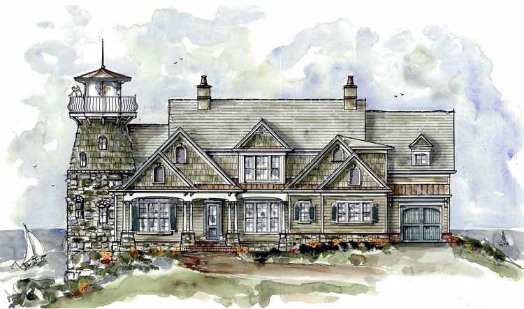 Plan 15722ge Shingle Style Home Plan With Lighthouse In 2021 Country Style House Plans Shingle Style Homes Shingle House