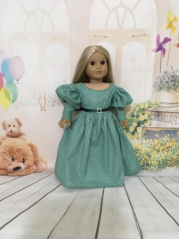 Green Ball Gown American Girl Size Dress - 18 Inch Doll Play Doll Party Dress, Stylish Fashion For Dolls #dollvictoriandressstyles