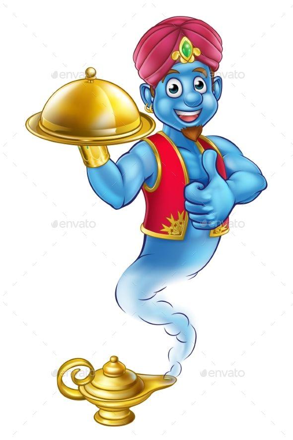 Cartoon Genie Serving Food Cartoon Aladdin Library Posters