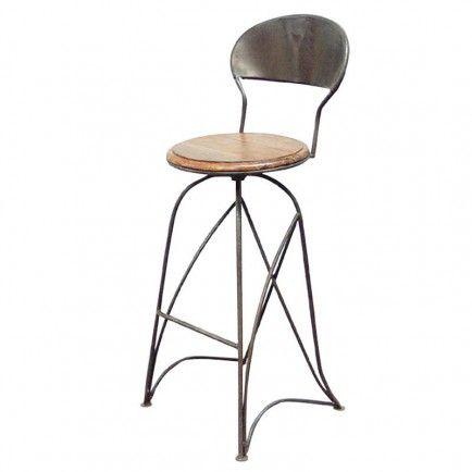 tabouret de bar pivotant fer forg et palissandre. Black Bedroom Furniture Sets. Home Design Ideas