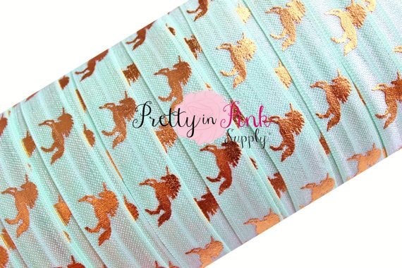 "5 yards White w// metallic rainbow unicorn print 5//8/"" fold over elastic FOE"