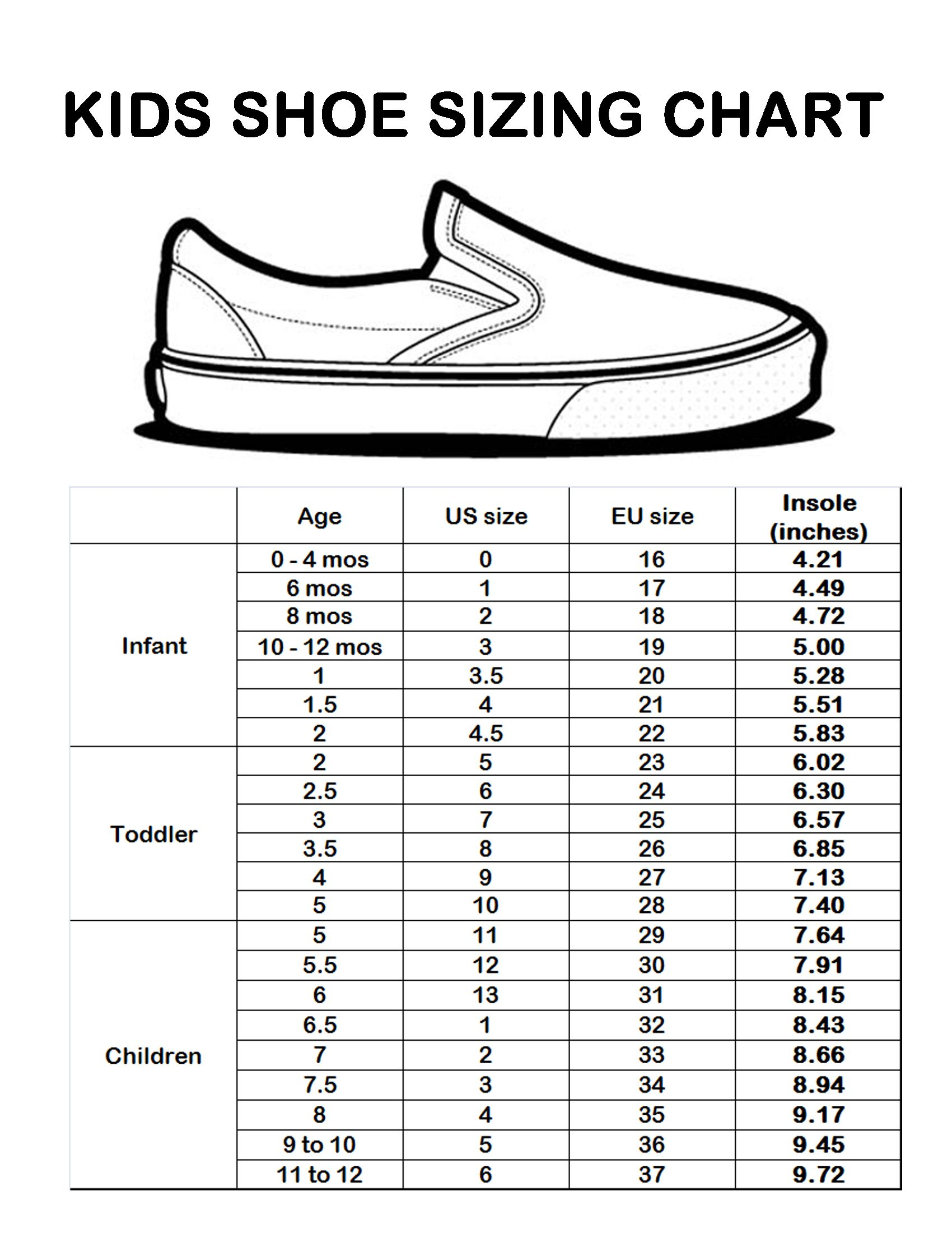 As a general guide, use the following chart of baby shoe sizes, which shows foot length matched to each approximate age. This chart works for most shoe styles your baby will wear at these ages, including sneakers, sporty sandals and boots.