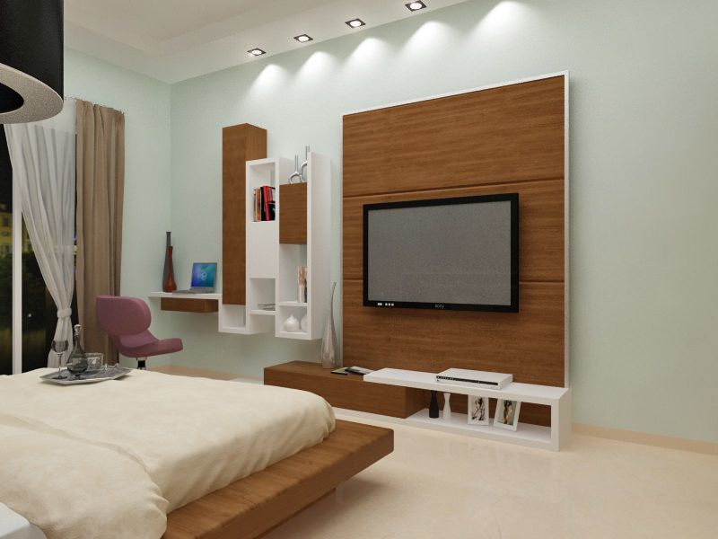 Bedroom with woodwork for TV Unit