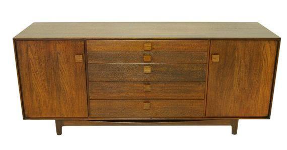 Modern Dark Wood Credenza : Kofod larsen labeled mid century modern credenza with square pulls