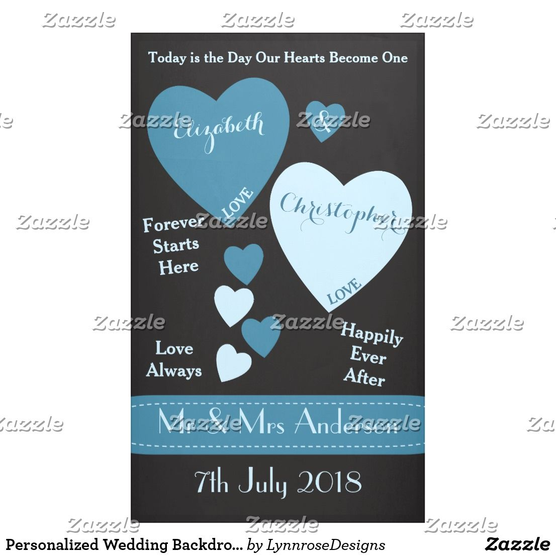 Personalized Wedding Backdrop Photo Booth Blue Banner
