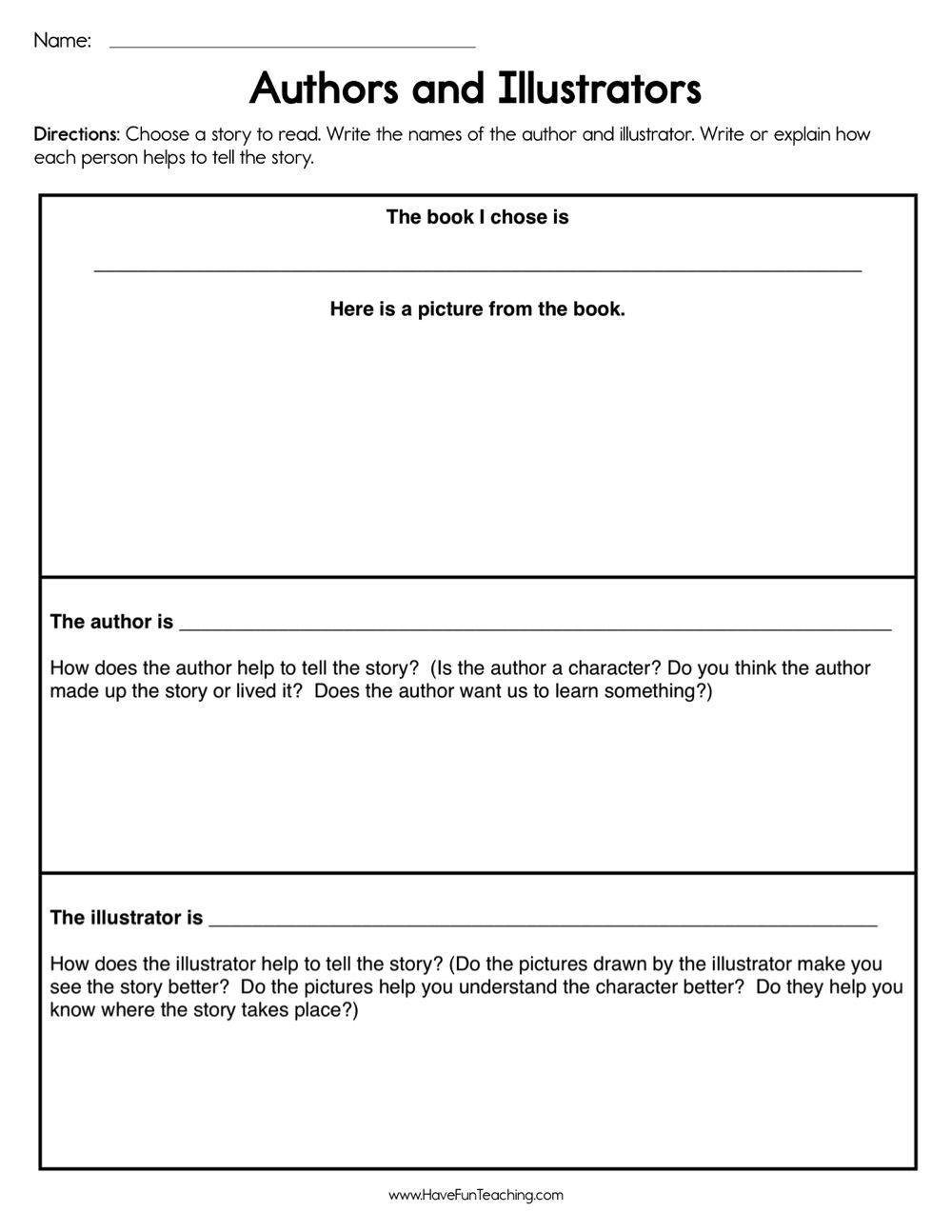 Author And Illustrators Worksheet In 2020 Authors Purpose Activities Authors Purpose Have Fun Teaching