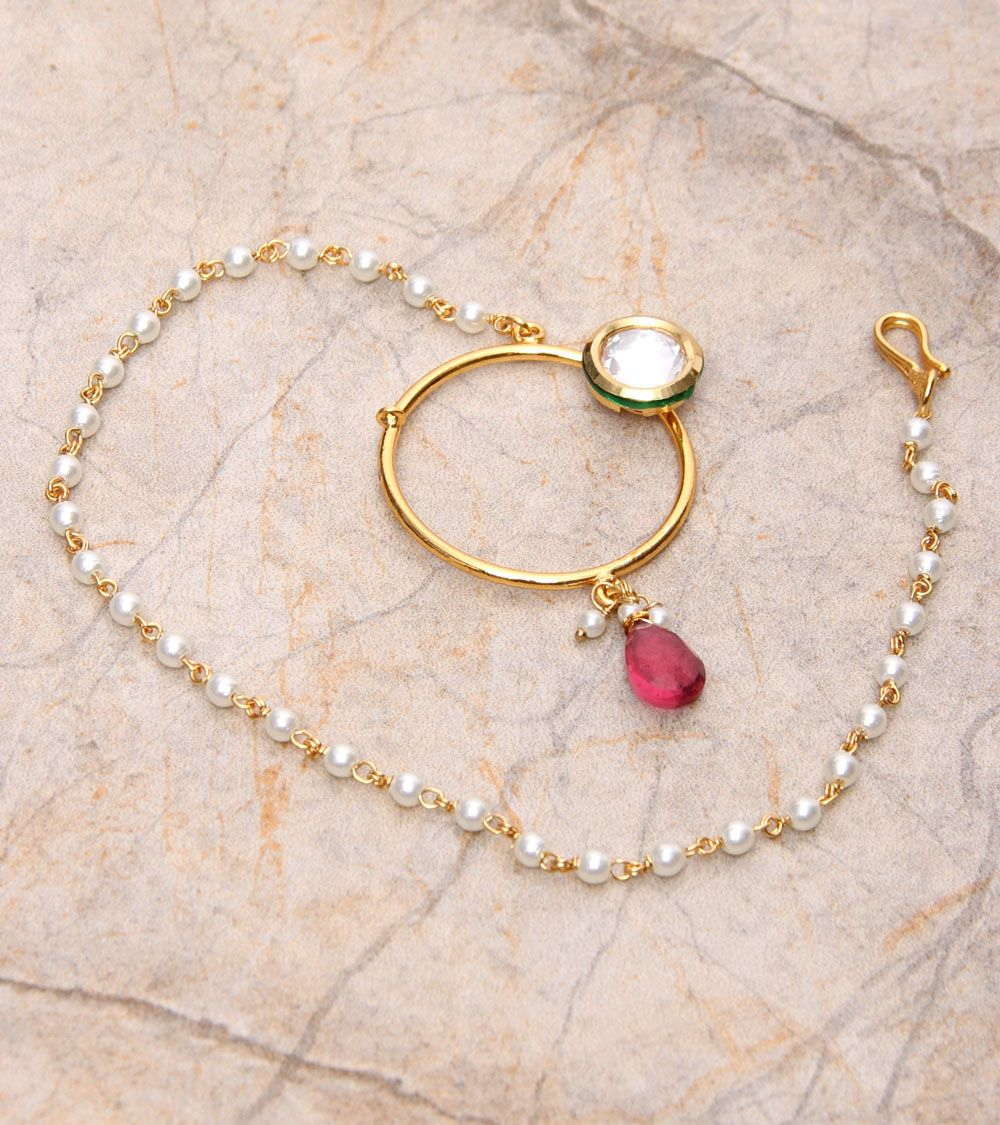 Golden u red embellished nath ethnic jewelry pinterest