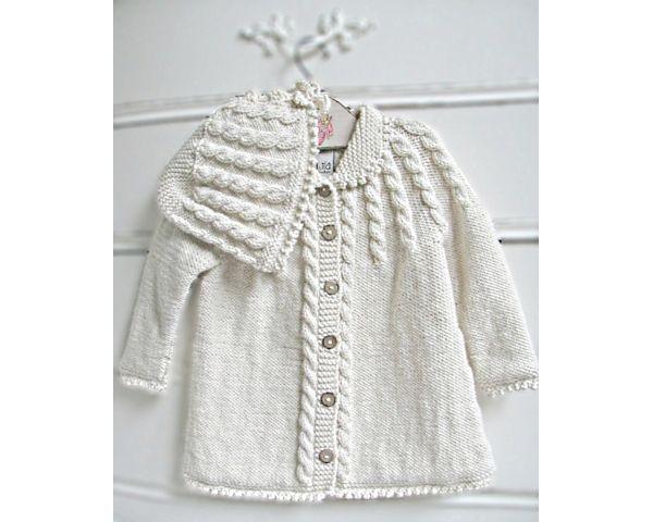 Zia & Tia Organic Hand knit Cable Matinee Coat & Hat - Girls ...