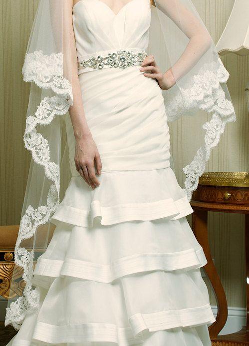 Wedding Veil Waltz Drop TwoTier Spanish Mantilla by AlisaBrides