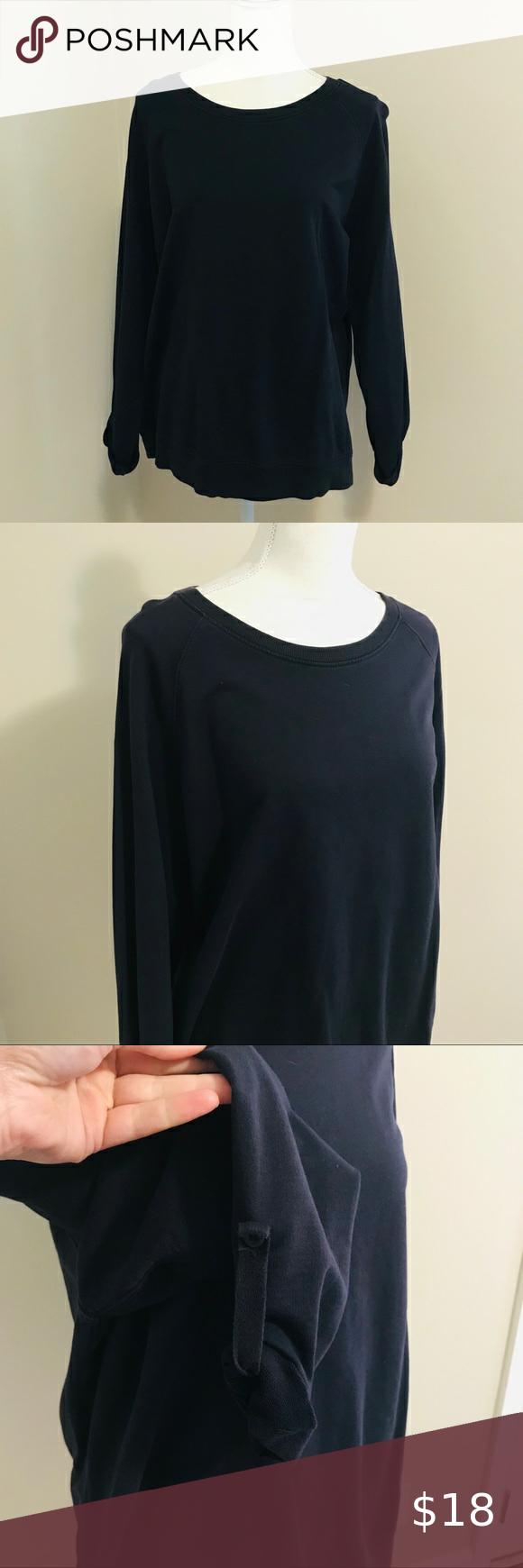 Lands End Roll Sleeve Crewneck Sweatshirt How To Roll Sleeves Crew Neck Sweatshirt Navy Blue Sweatshirt [ 1740 x 580 Pixel ]