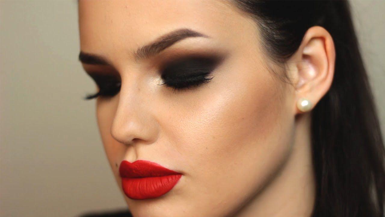 Black Smokey Eye Red Liquid Lipstick Valentines Day Makeup
