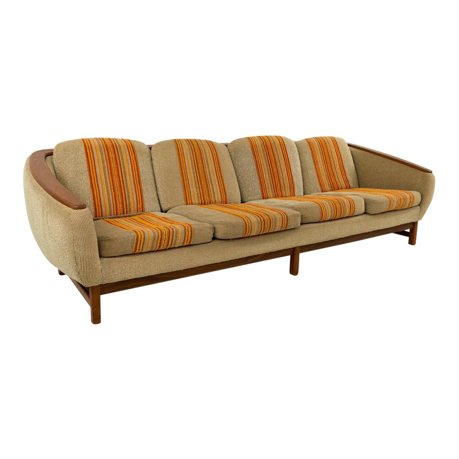 Sofa X Long Mid Century Modern R Huber Teak Arm Sofa101 Long X 36 Deep X 28