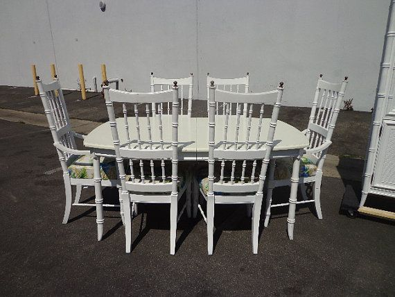 8pc Stanley Faux Bamboo Dining 6 Chairs Set Glamour Hollywood ...
